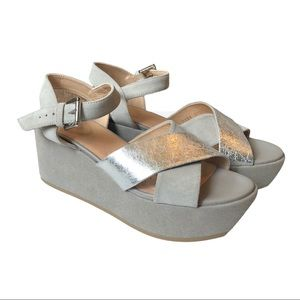 Geox Platform Wedge Sandals Silver Y2K